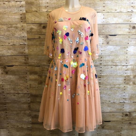 ASOS Curve Dresses & Skirts - NWT ASOS | Donna Sequin Mesh Skater Dress 16